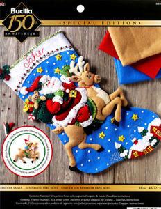 「Reindeer Santa Stocking」Bucilla ブシラ クリスマス ハンドメイド フェルト くつ下 ソックス  ストッキング キット