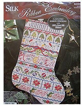 【ヴィンテージ1点もの:1995年製】「Silk Ribbon embroidery  Stocking」Bucilla ブシラ シルクリボン刺繍ストッキング