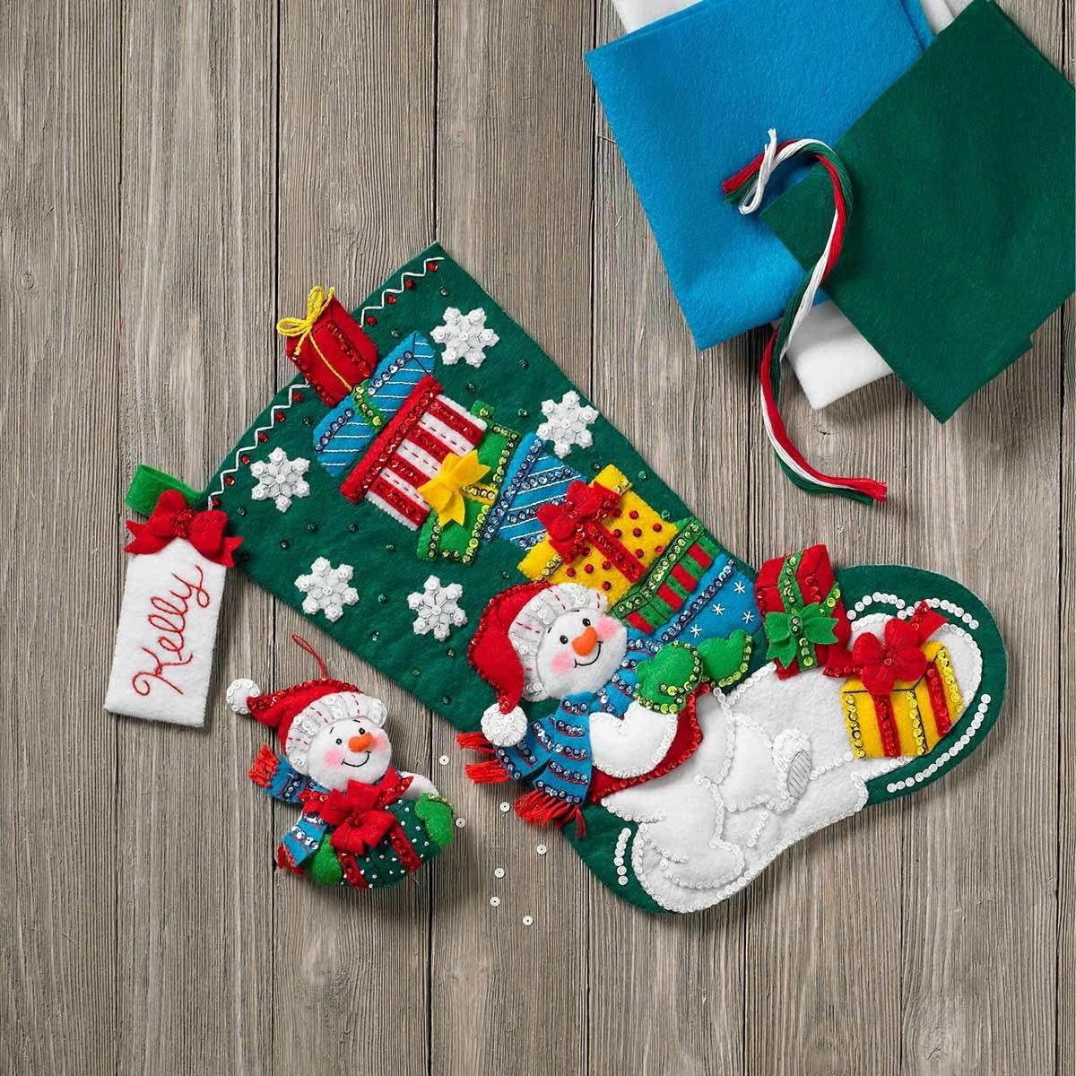 「Snowman With Presents StockingBucilla 」ブシラ クリスマス ハンドメイド フェルト くつ下 ソックス  ストッキング キット