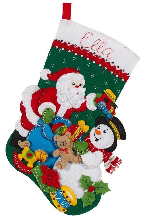 Bucilla「Santa and Snowman」クリスマスフェルトストキングキット