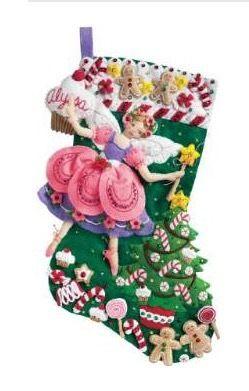 Bucilla 「Sugar Plum Fairy」クリスマスフェルトストッキング