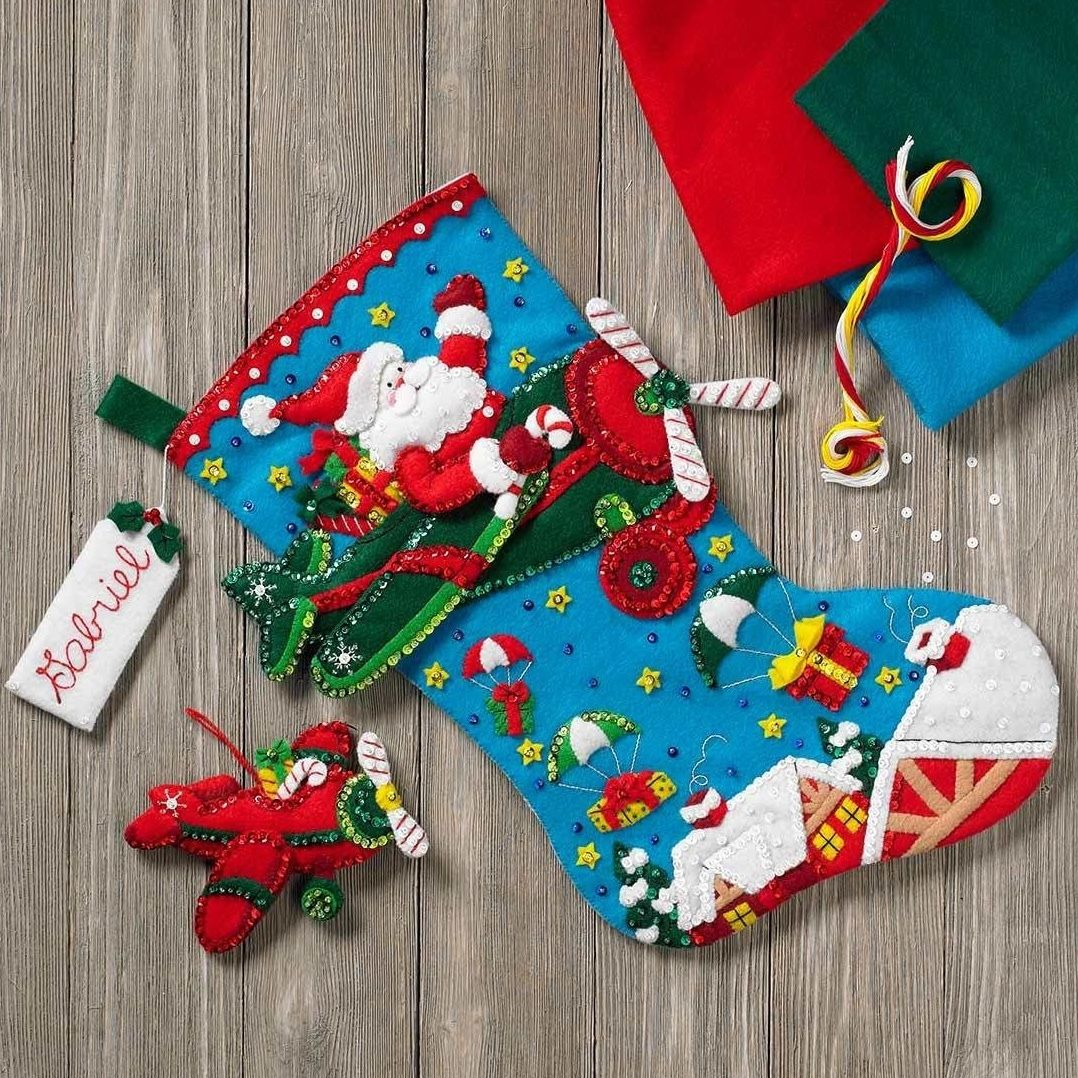 「Airplane Santa Stocking」Bucilla ブシラ クリスマス ハンドメイド フェルト くつ下 ソックス  ストッキング キット