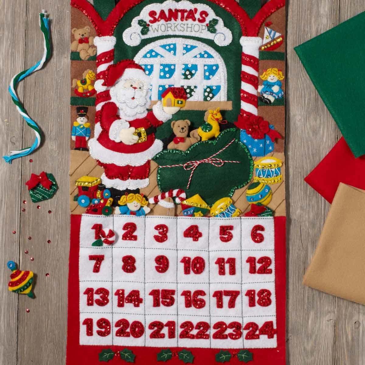 「Santa's Workshop Advent Calender」Bucilla ブシラ クリスマス ハンドメイド フェルト    アドベントカレンダー キット