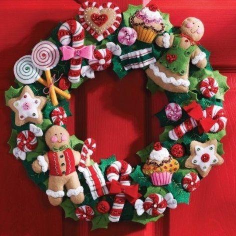 Bucilla  ブシラ リースキット「クリスマス・クッキー&キャンディ」
