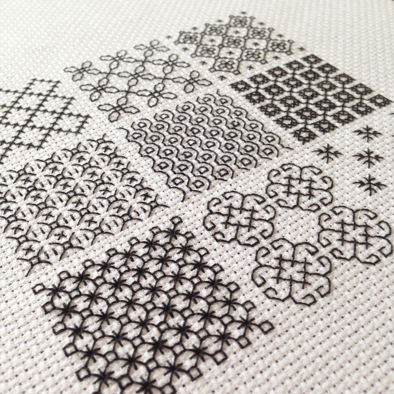 (101)【初めてのブラックワーク刺繍  STEP1 】9つのパターン・レッスンサンプラー