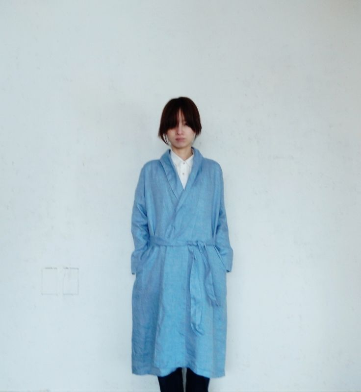 fog linen work DOMINIQUE ROBE COAT BLUE AZUR