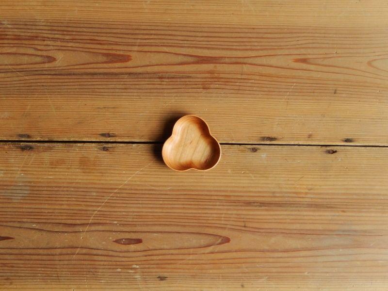 四十沢木材工芸  桜豆皿  みつば