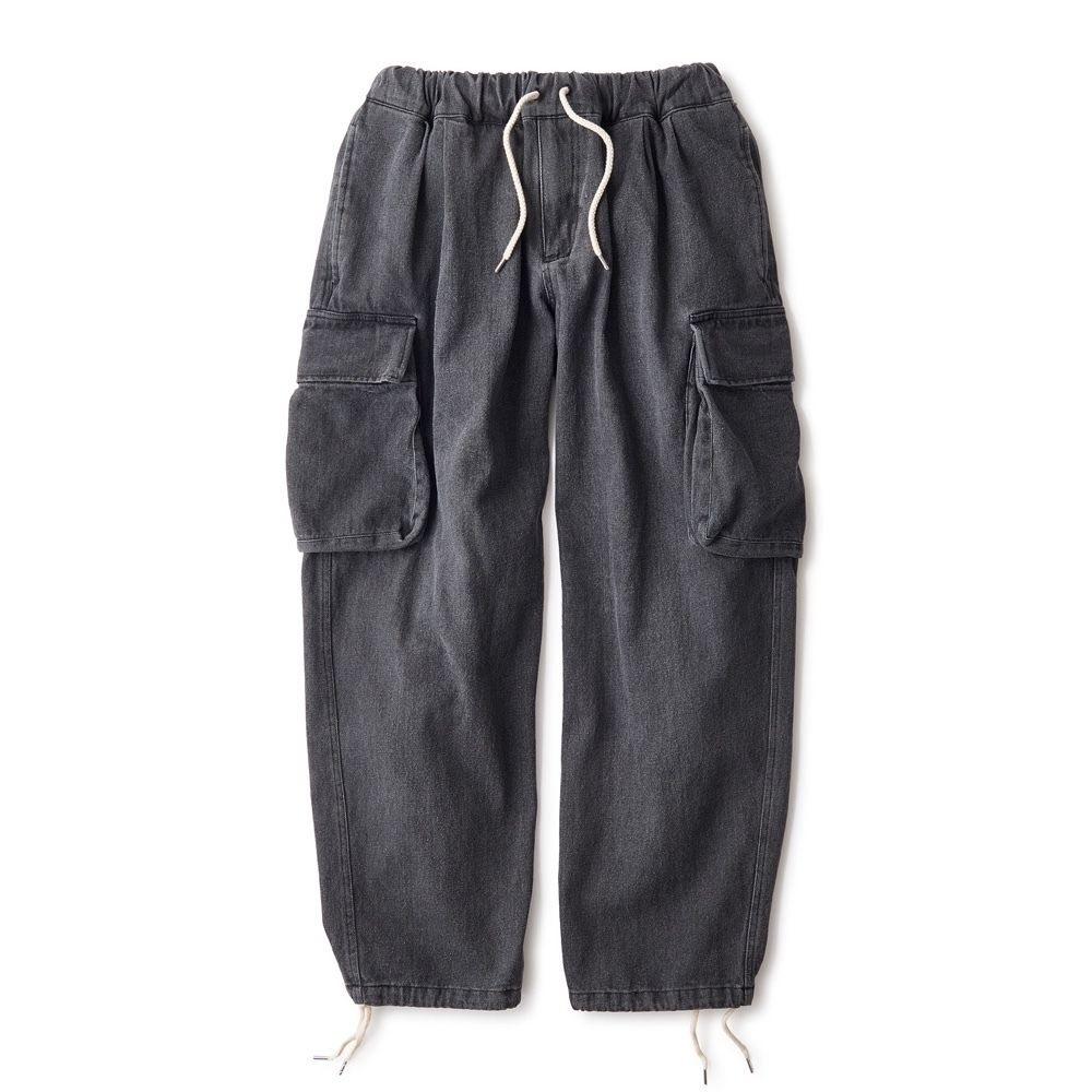 INTERBREED WASHED DENIM RELAX CARGO TROUSER (BLACK)