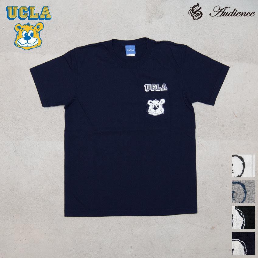 "[AUD1766] Audience University of California, Los Angeles ""Bruin Bear"" 7.1oz米綿丸胴オールドプリントクルーネックポケットT"