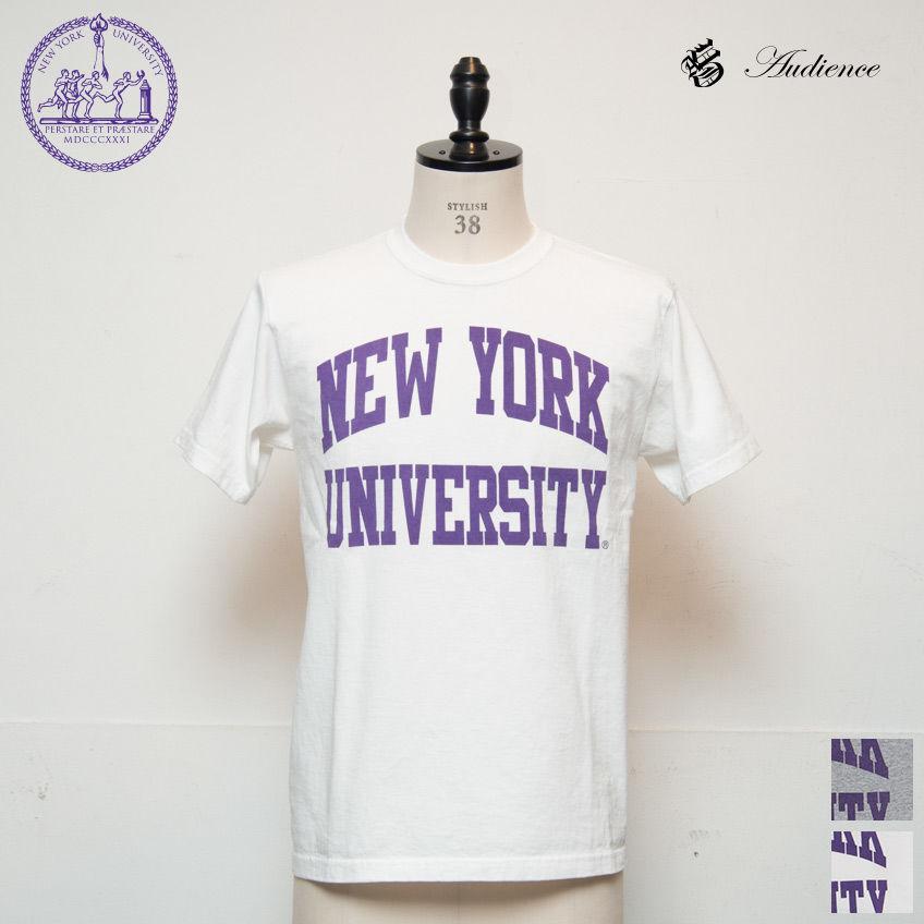 "[AUD1698] Audience NEW YORK UNIVERSITY""NEW YORK UNIVERSITY""C/N S/S 6.6oz オールドプリントT"