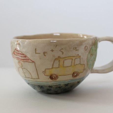 アイテムポストで買える「マグカップ/常滑焼/手づくり/くるま」の画像です。価格は2,300円になります。