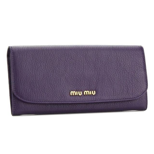 ミュウミュウ (MIUMIU) 2つ折り 長財布 小銭入付き5M1109 034 F0030VIOLA パープル系