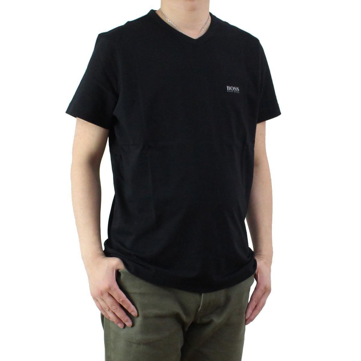 ヒューゴ・ボス (HUGO BOSS) TEEVN メンズ Vネック Tシャツ 50271056 10106415 001 ブラック サイズ(#L)