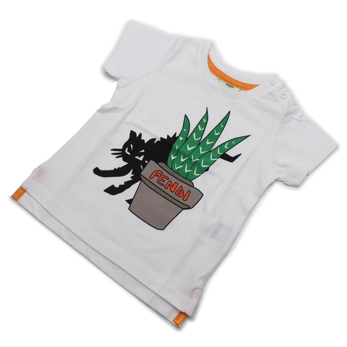 フェンディ (FENDI) ベビーTシャツ ベビー服BMI061 7AJ F0QA0ホワイト系サイズ(#9M)