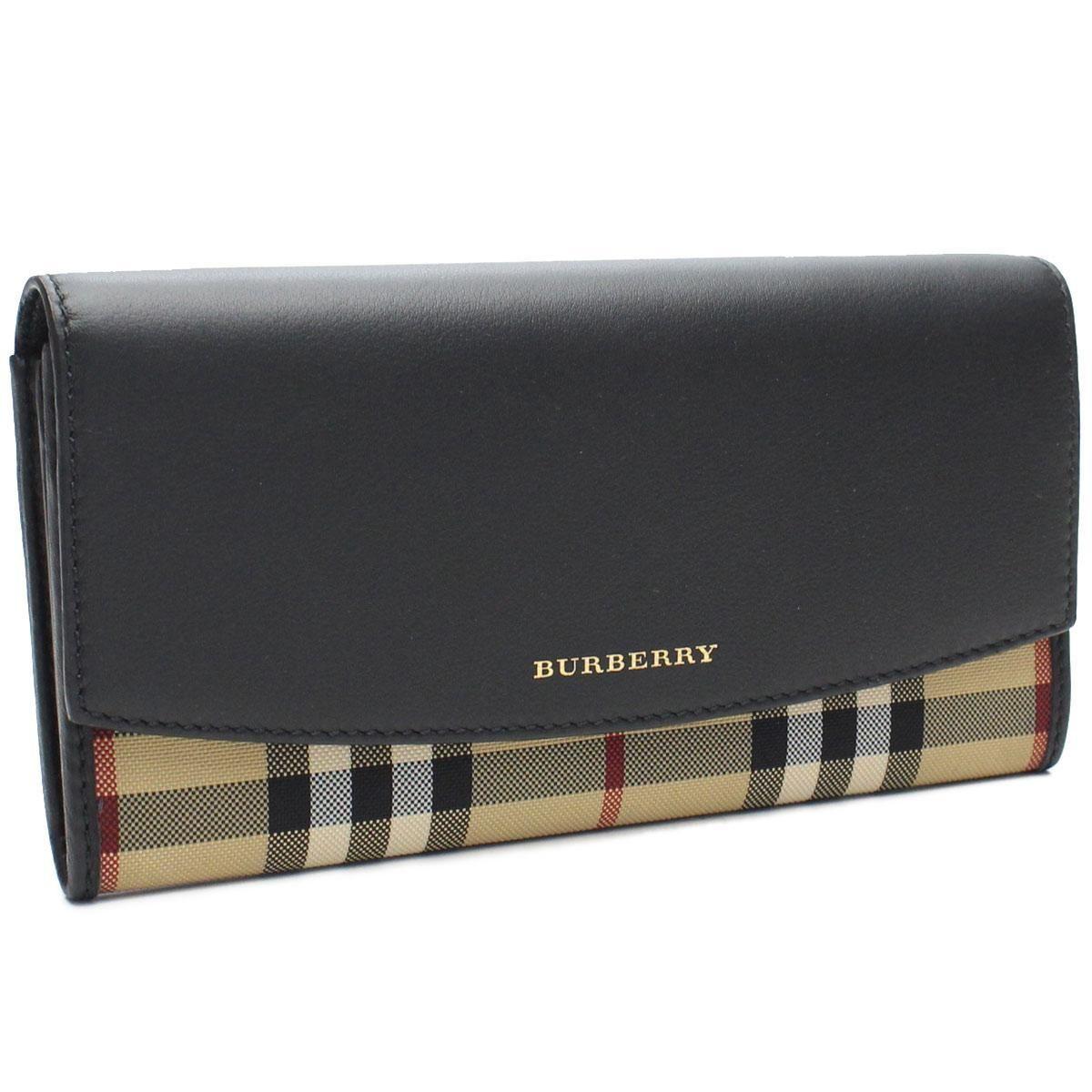 バーバリー (BURBERRY) HORSEFERRY CHECK WALLET バーバリーチェック 長財布二つ折り財布小銭入付き4024987BLACK ブラック マルチカラー