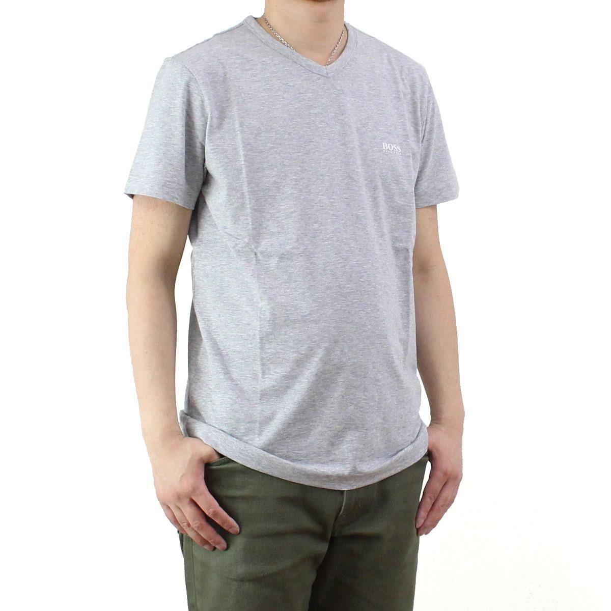 ヒューゴ・ボス (HUGO BOSS) TEEVN メンズ Vネック Tシャツ 50271056 10106415 059 グレー系 サイズ(#L)
