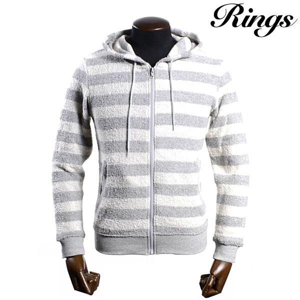 Ring's リングズ【2015春夏新作】パイルボーダーZIPパーカー【グレー】【フーディー】【M/L/XLサイズ】【フーディー】【セットアップにもなります】【別売りセット用ショーツあり】【メンズ】