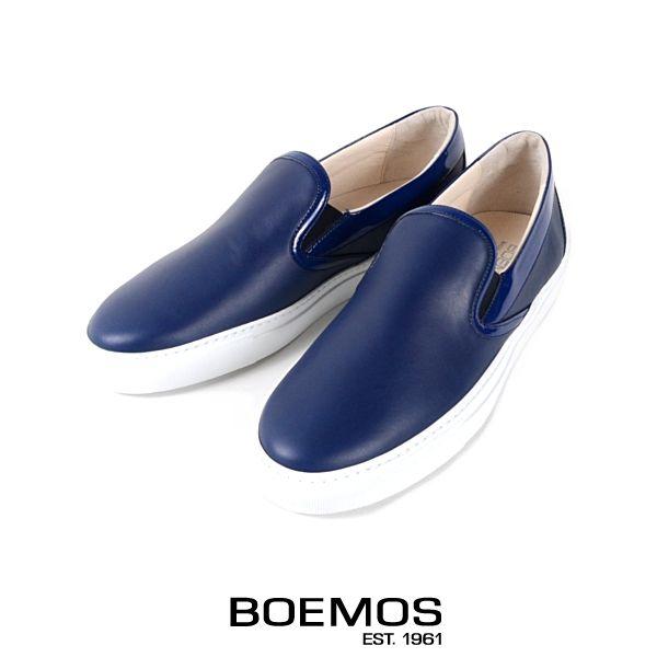 【SALE50%OFF】BOEMOS ボエモス【2015春夏】【送料無料】【イタリア発】レザースリッポンシューズ【ネイビー】【カジュアルシューズ/靴】【メンズ】