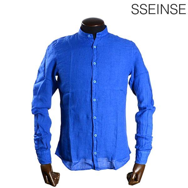 【SALE50%OFF】SSEINSE センス【2015春夏新作】【イタリア発】【注目の新ブランド】ノーカラーリネンシャツ【ROYAL BLUE:ロイヤルブルー】【M/L/XLサイズ】【長袖】