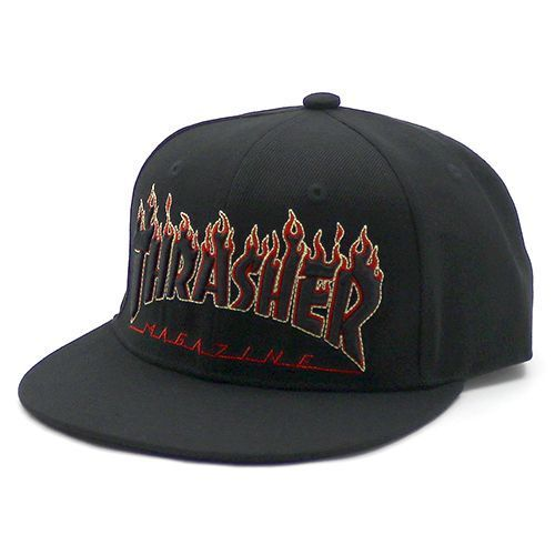 THRASHER / スラッシャー FLAME Logo Cap -Black/Yellow-