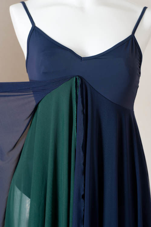 プリンセスレオタード・キャミソール Mサイズ紺色/緑色