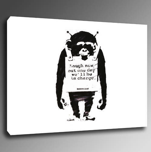 bmlnwhite30 Monkey Laugh Now White バンクシー アート 30.5×21.0