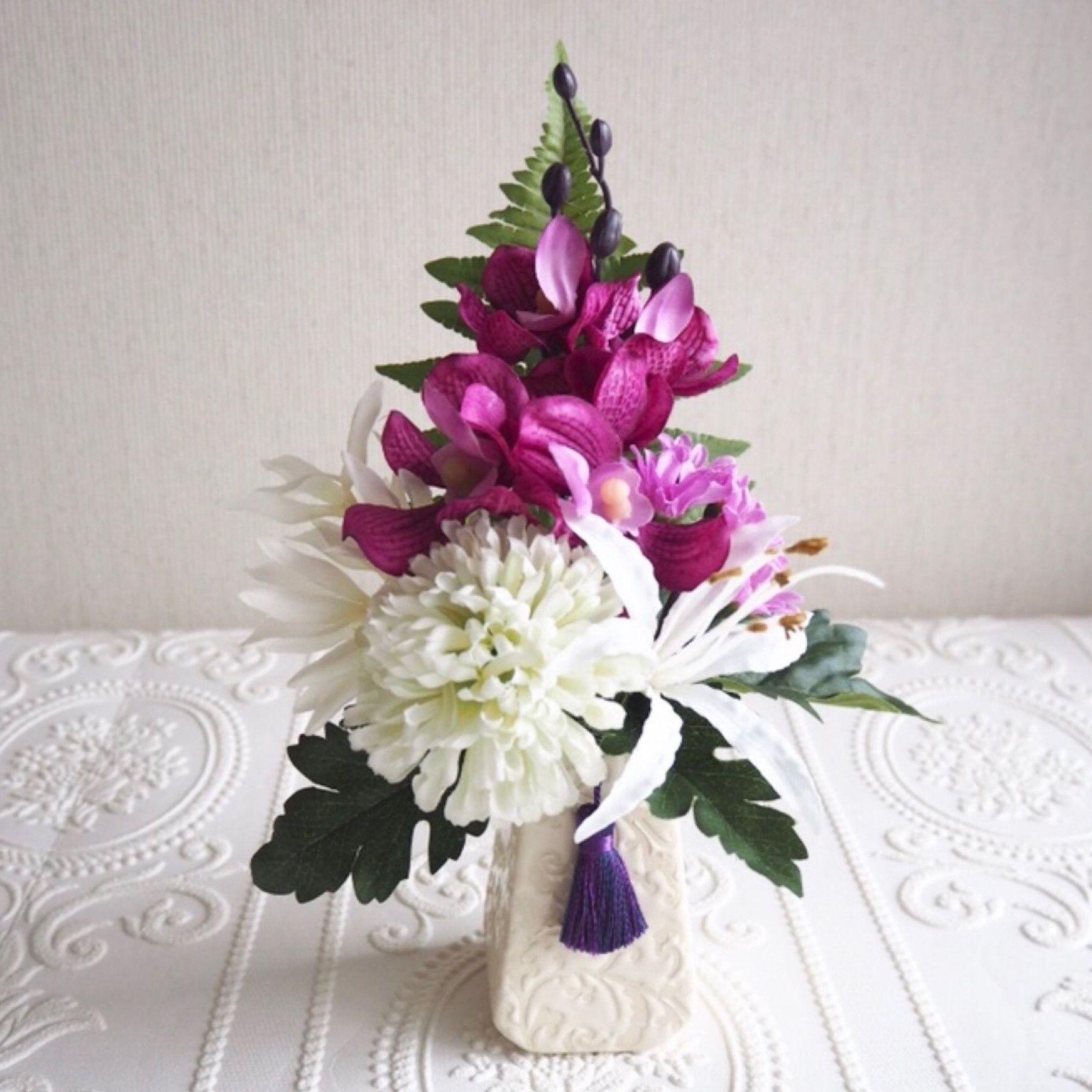 ●新作 お供え花【モダン 仏花】麗しマゼンタ& ホワイト *プレミアム舞花 B28