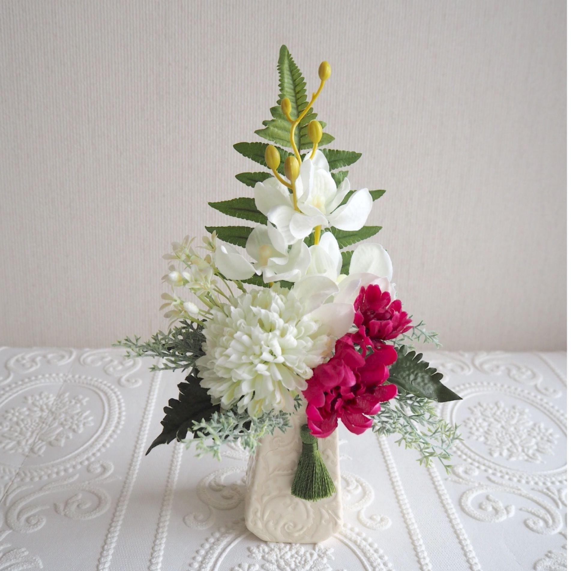 ●新作 お供え花【モダン 仏花 】気品 ホワイト &ガーネット *プレミアム舞花B34