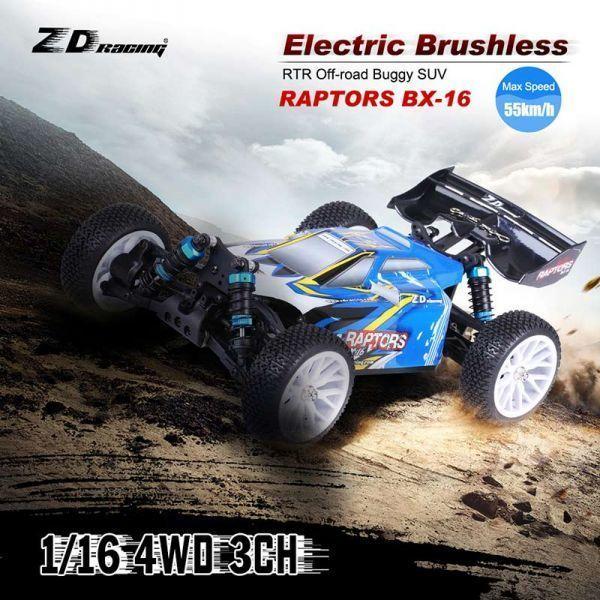 【送料無料!】2.4G 3CHリモコン付きオリジナルZDレーシングRAPTORS BX-16 1/16 4WD電動ブラシレスRTRオフロードバギーSUV【新品】