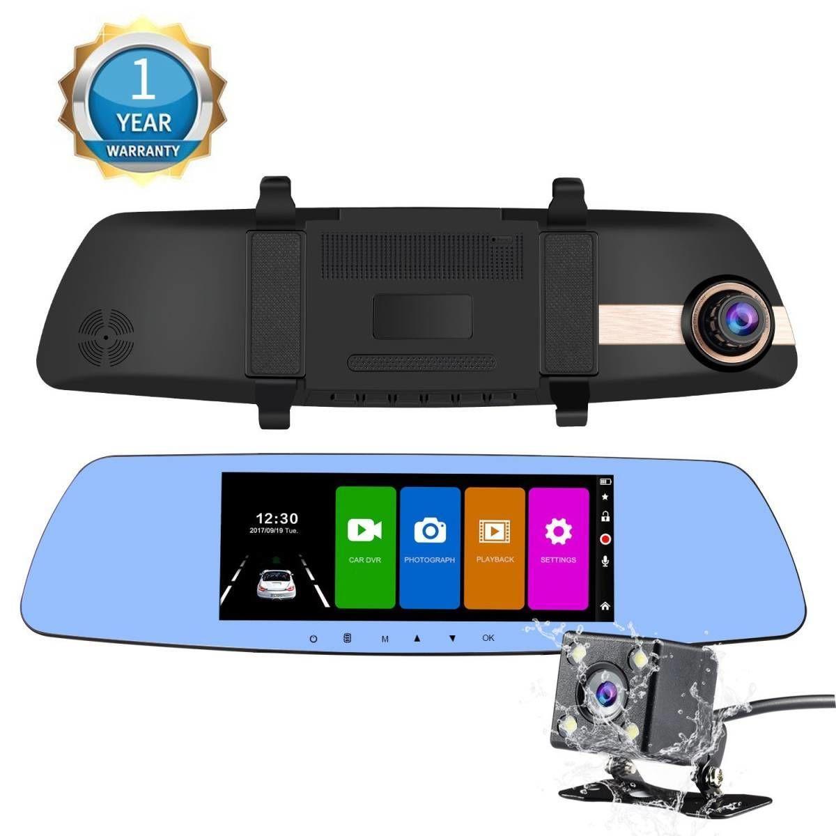 NexGadget ドライブレコーダー 7.0インチルームミラー型 大画面 タッチスクリーンドラレコ 1080P Full HD高画質 2カメラ搭載