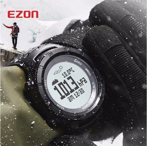【送料無料!】EZON 多機能 腕時計 メンズ スポーツ デジタル 高度計 バロメーターコンパス 温度計 ハイキング 登山【新品】