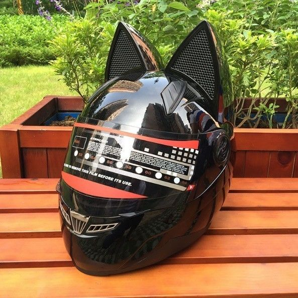 【送料無料!】NITRINOS オフロード 猫耳 フルフェイスヘルメット ブラック ファション モトクロス バイク ツーリング【新品】