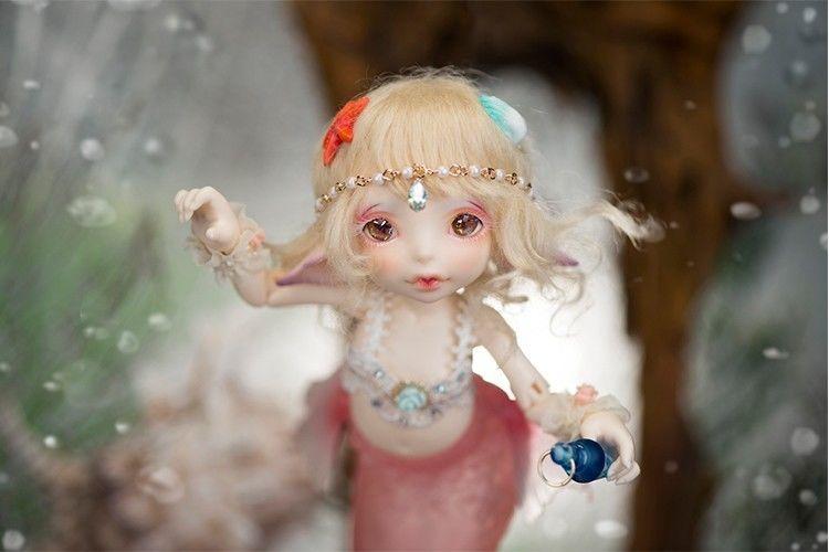 【送料無料!】球体関節人形 本体+眼球+メイクアップ済 BJD カスタムドール 人魚 1/7 マリ【新品】