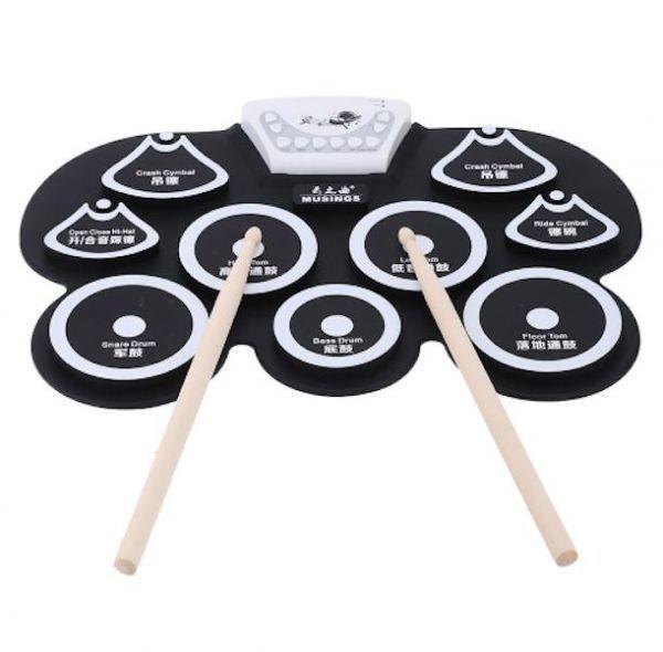【高品質】ポータブルドラムパッド スティックペダル usb midi 練習バンド 音楽