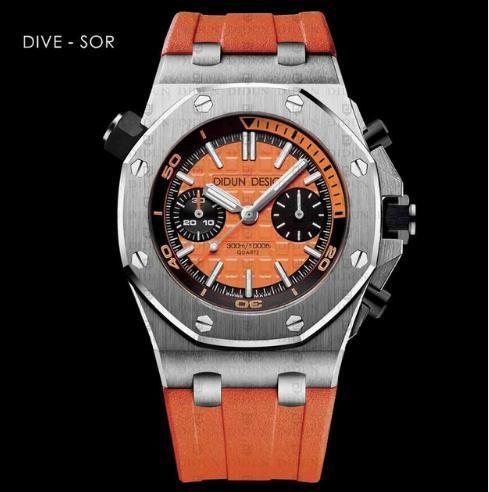 【送料無料】DIDUN メンズ クォーツ腕時計 高級 クロノグラフ ダイバー SOR【新品】