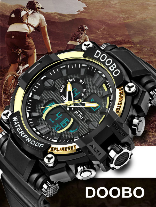 Doobo トップブランド 高級 スポーツ時計 メンズ 腕時計 クォーツ デジタル 防水 ミリタリー