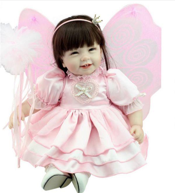 【送料無料!】妖精の羽根♪ プリンセス お姫様 天使 ロングヘア 女の子 リボーンドール 赤ちゃん人形 ベビー人形 ベビードール ハンドメイド【新品】