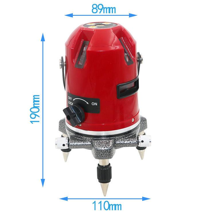 5ライン 6点 レッド レーザー 墨出し器 高輝度 高精度 水平/垂直 光学測定器 地墨点付
