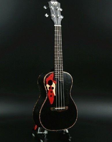 【送料無料!】ウクレレ 本体 黒 ブラック ハワイアン 楽器 デザイン 23インチ マホガニー バンド【新品】