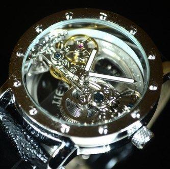 【送料無料!】TIEDAN メンズ 機械式上時計 自動巻 スケルトン トゥールビヨン シルバー ブラック革バンド【新品】
