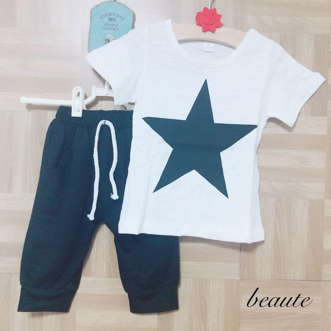 プリントTシャツ+パンツセット