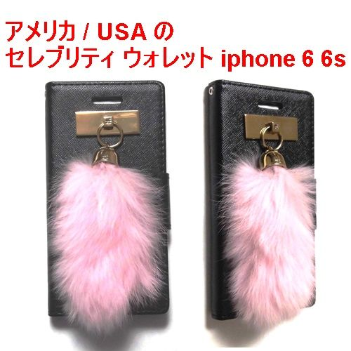 JAGGER EDGE ジャガーエッジ アメリカ の 2つ折り カード入れ ウォレット smart wallet baby pink bunny charm iphone 6 6s ケース