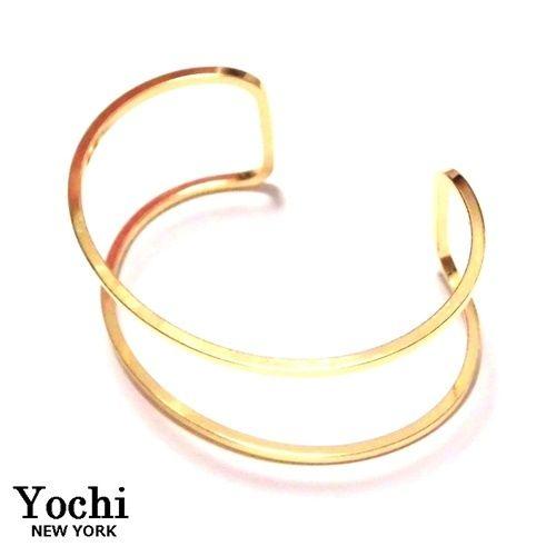 Yochi NEW YORK ヨキ ニューヨーク カフ Wire Open Cuff gold バングル ゴールド 幅広 レディース シンプル ブレスレットバングル お洒落のアクセントに ブランド