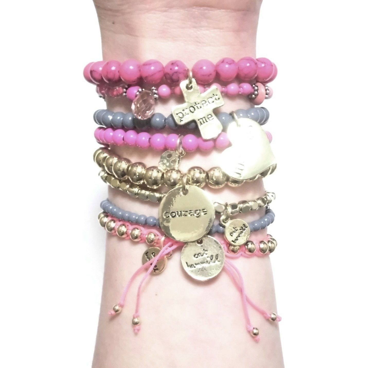 CATHAMMILL キャットハミル オーストラリア の ピンク ブレスレットセット Pop gold pink bracelet ゴールド クロス ハート ブレスレッド 海外 ブランド