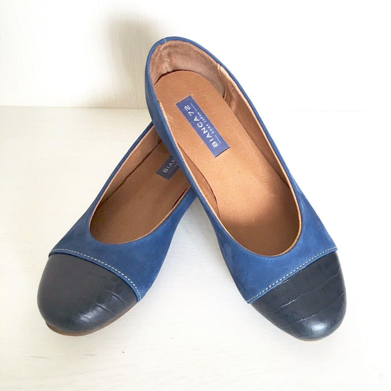 Artisan Handmade Orginal Leather Ballet Flat【Navy】バイカラーレザーバレエフラット【ネイビー】【本革】【madeinKOBE】