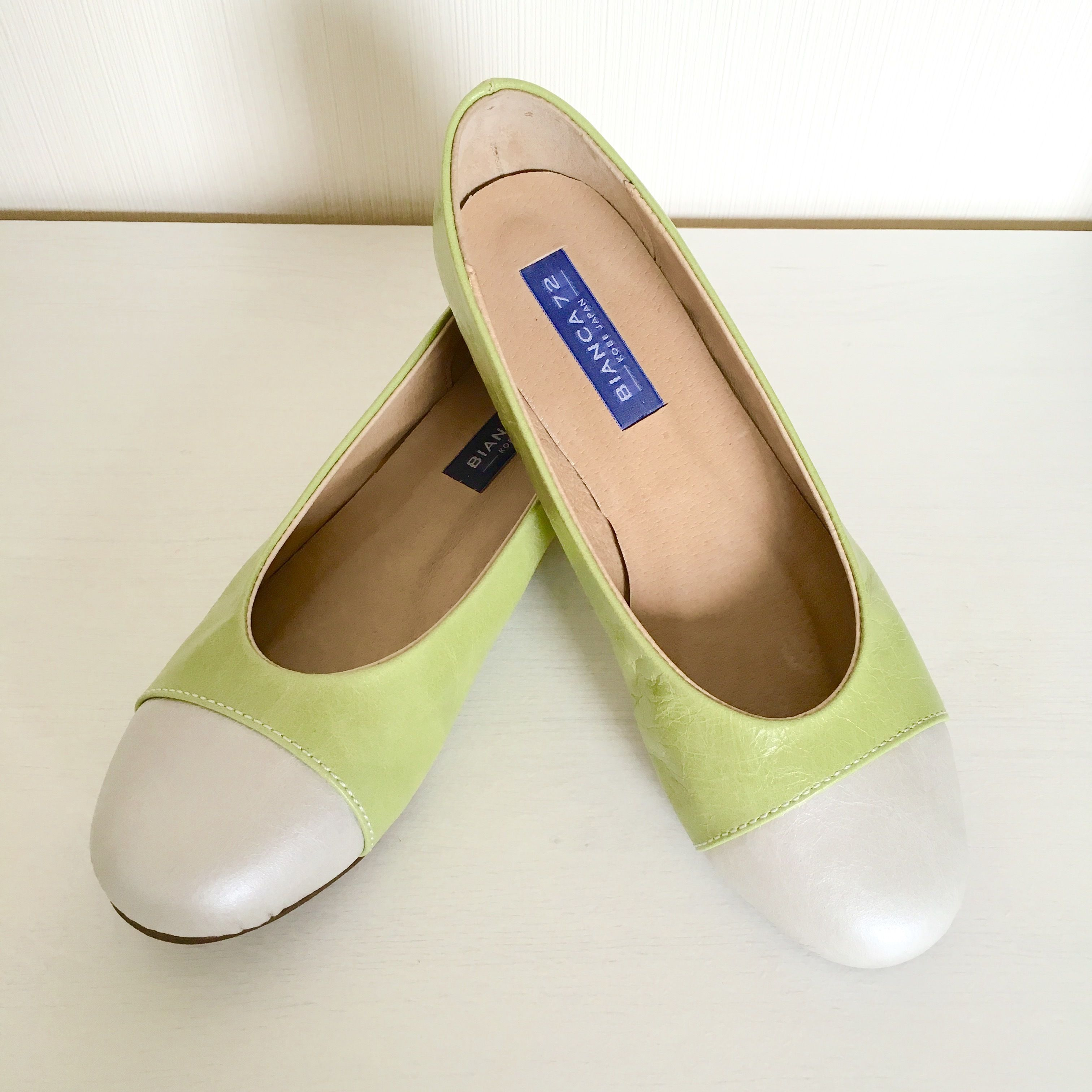 Original handmade leather ballet shoes[MACARON]オリジナルハンドメイドレザーバレエ「マカロン」シルバー×シャイニーグリーン