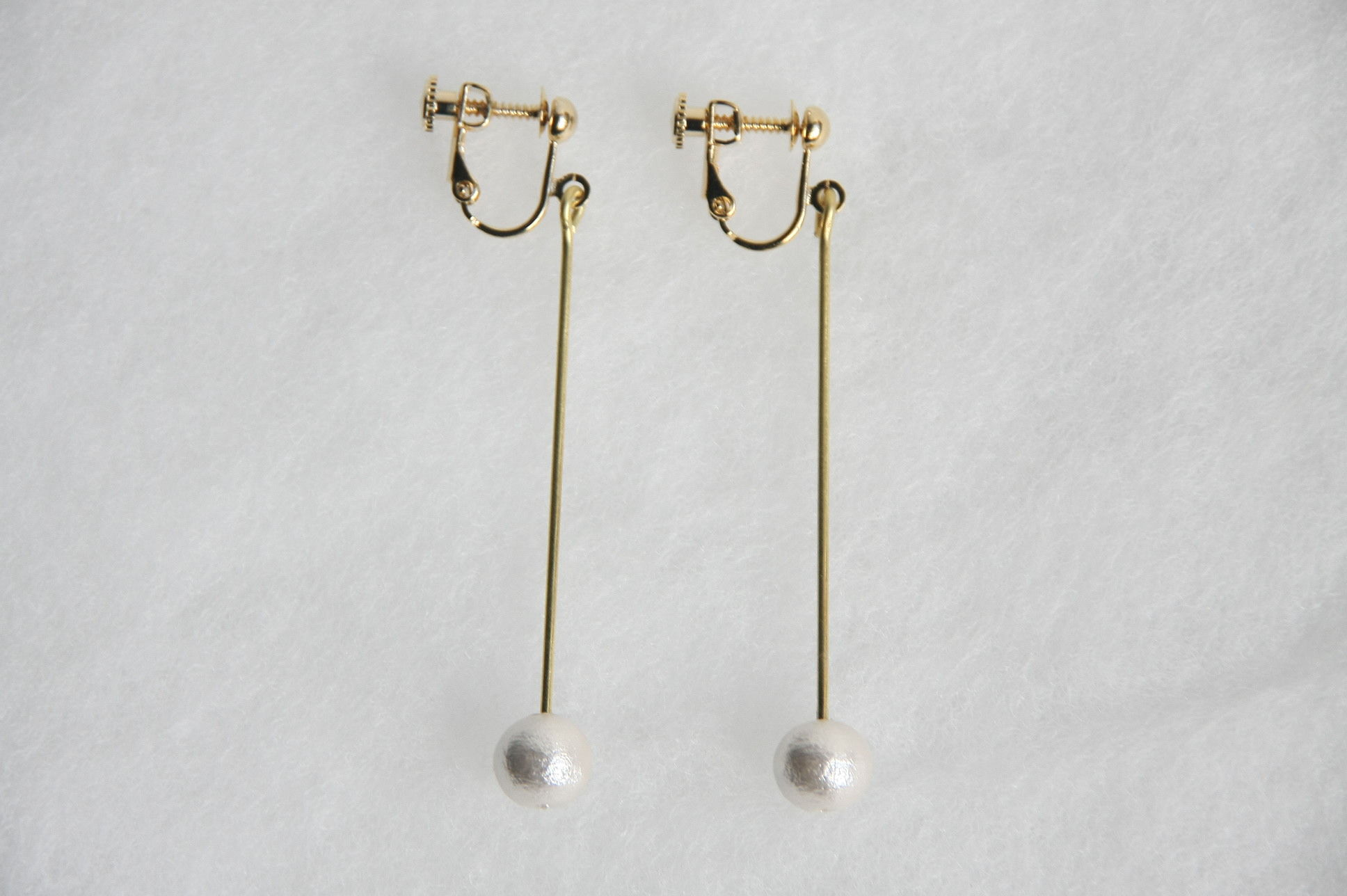 pearl earring long [VE-003w]