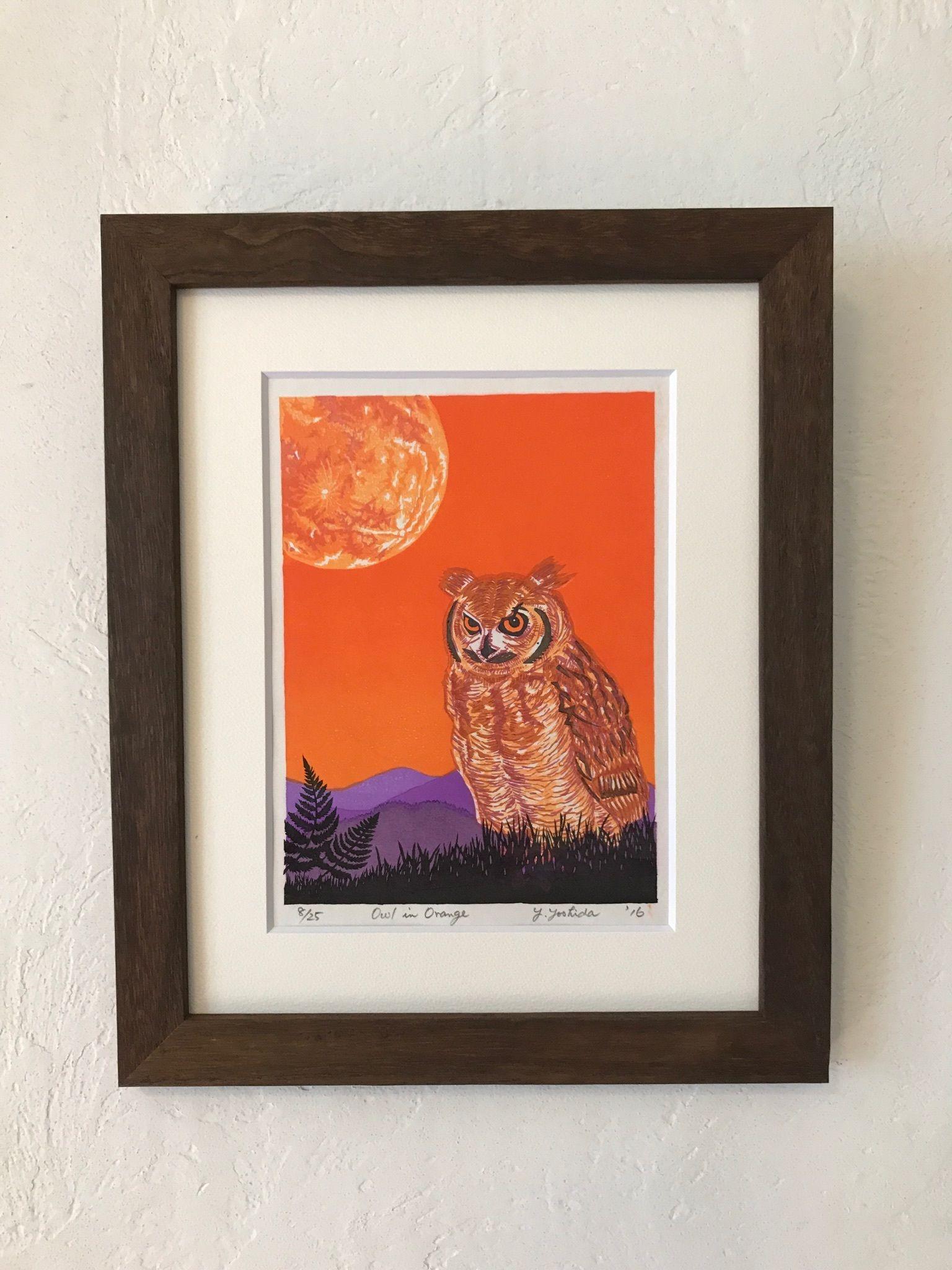 木版画  「Owl in  Orange 」ハロウィンカラー