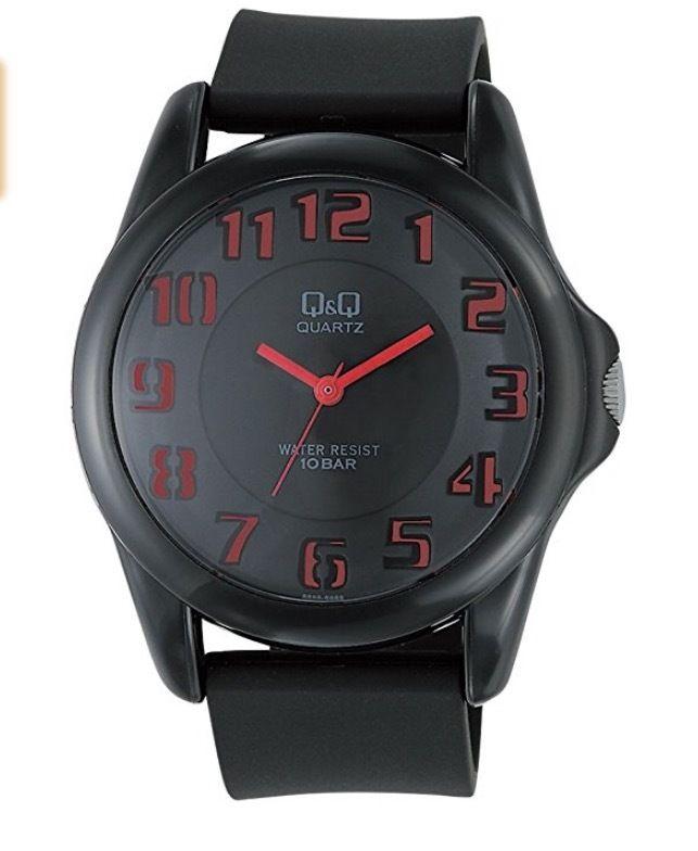 [シチズン キューアンドキュー]CITIZEN Q&Q 腕時計 ドームウォッチ アナログ表示 二層文字板 10気圧防水 ブラック×レッド VR46-006 メンズ