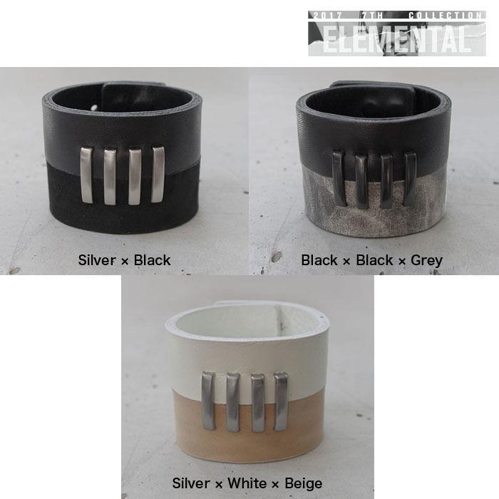 BI COLOR 4bars leather bracelet